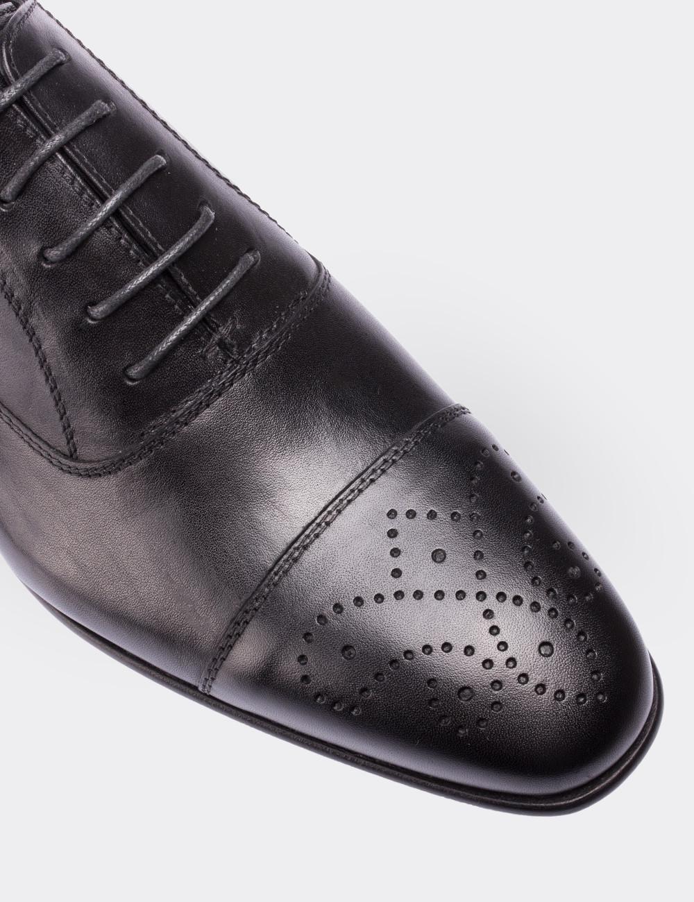 Hakiki Deri Siyah Kösele Erkek Ayakkabı - 00741MSYHK01
