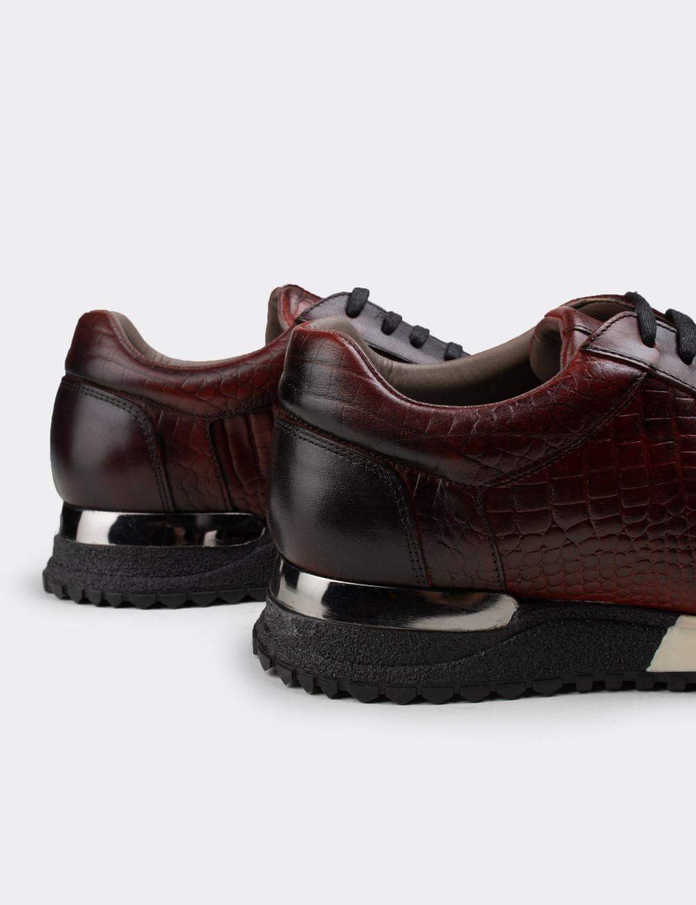 Hakiki Deri Bordo Spor Erkek Ayakkabı - 01632MBRDT02