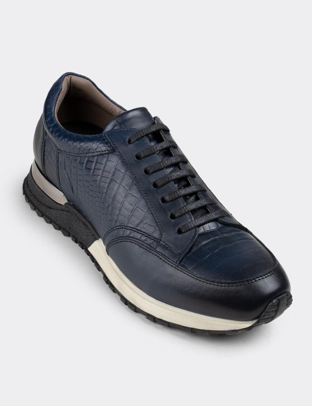 Hakiki Deri Mavi Spor Erkek Ayakkabı - 01632MMVIT01