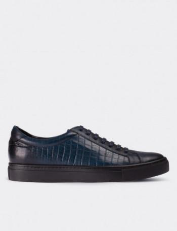 Hakiki Deri Kroko Mavi Sneaker Erkek Ayakkabı