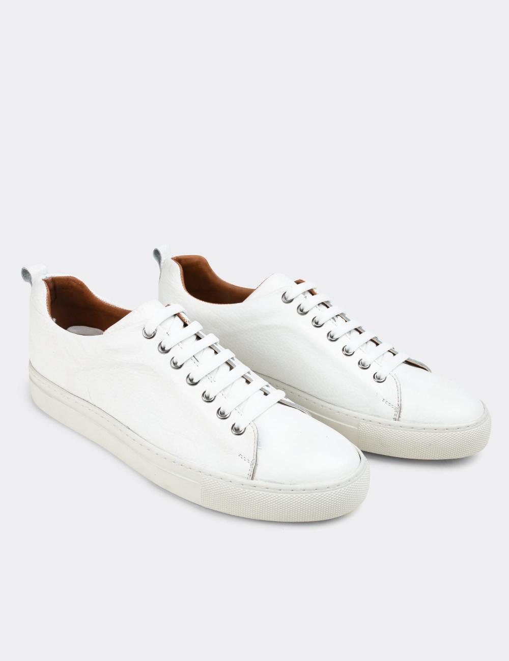 Hakiki Deri Beyaz Sneaker Erkek Ayakkabı - 01669MBYZC02
