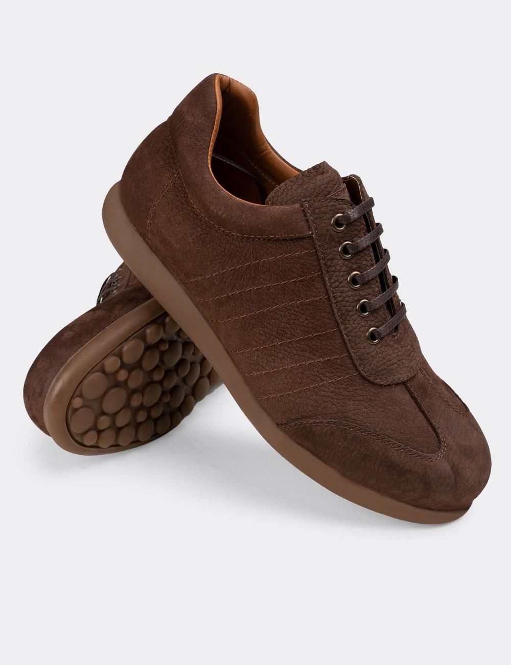 Hakiki Nubuk Kahverengi Günlük Erkek Ayakkabı - 01826MKHVC01
