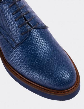 Hakiki Deri Lazer Desen Mavi Günlük Kadın Ayakkabı