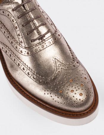 Hakiki Deri Bakır Rengi Simli Oxford Kadın Ayakkabı