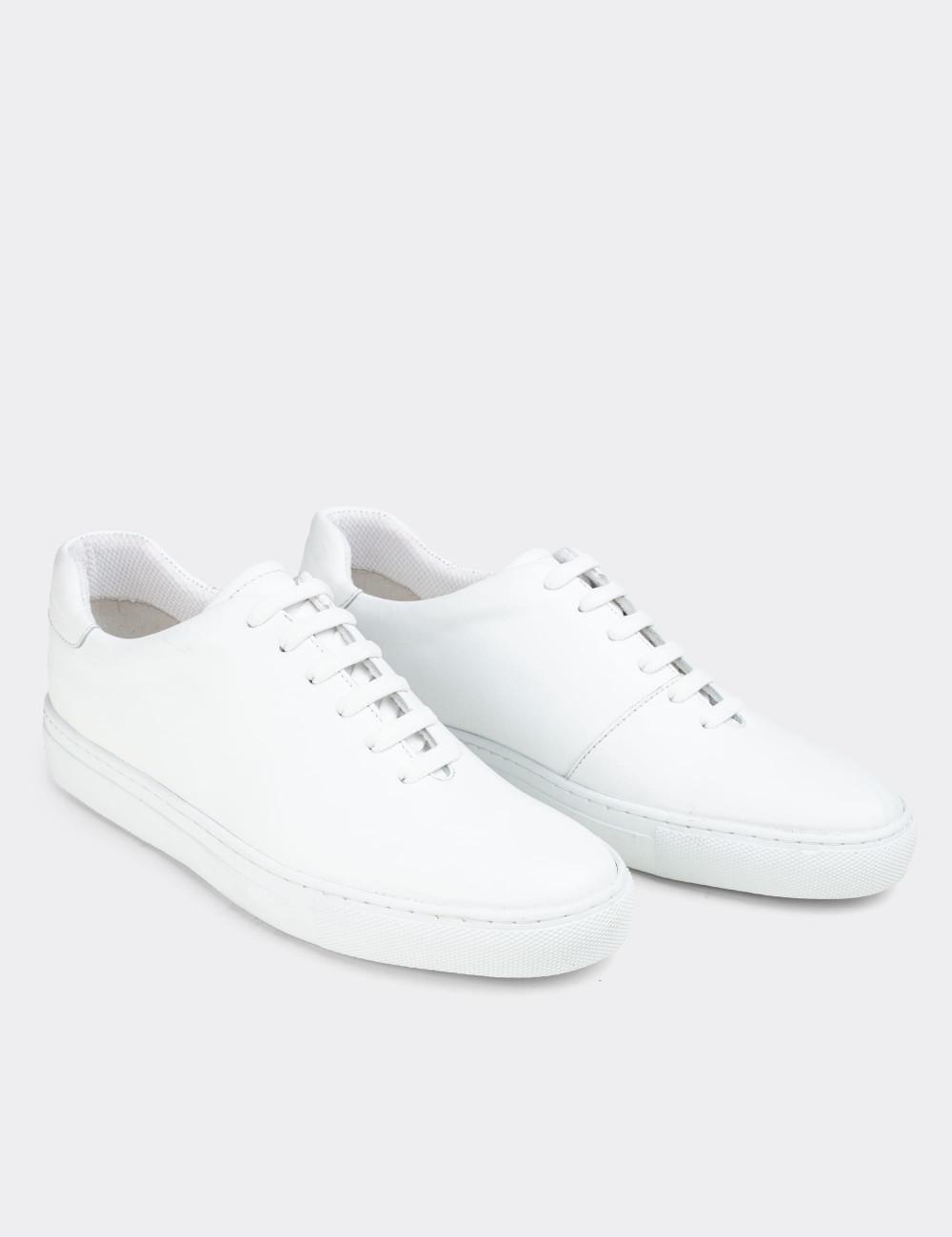 Hakiki Deri Beyaz Sneaker Erkek Ayakkabı - 01823MBYZC01