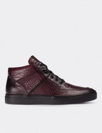 Hakiki Deri Kroko Bordo High Sneaker Erkek Ayakkabı