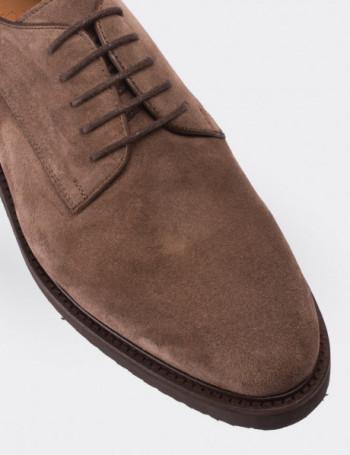 Hakiki Deri Vizon Rengi Süet Erkek Ayakkabı