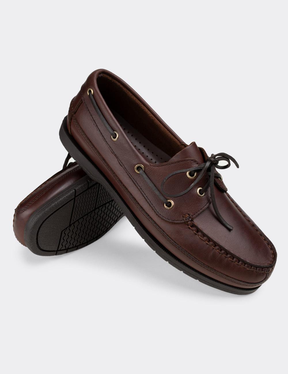 Hakiki Deri Kahverengi Marin Erkek Ayakkabı - 01543MKHVC01
