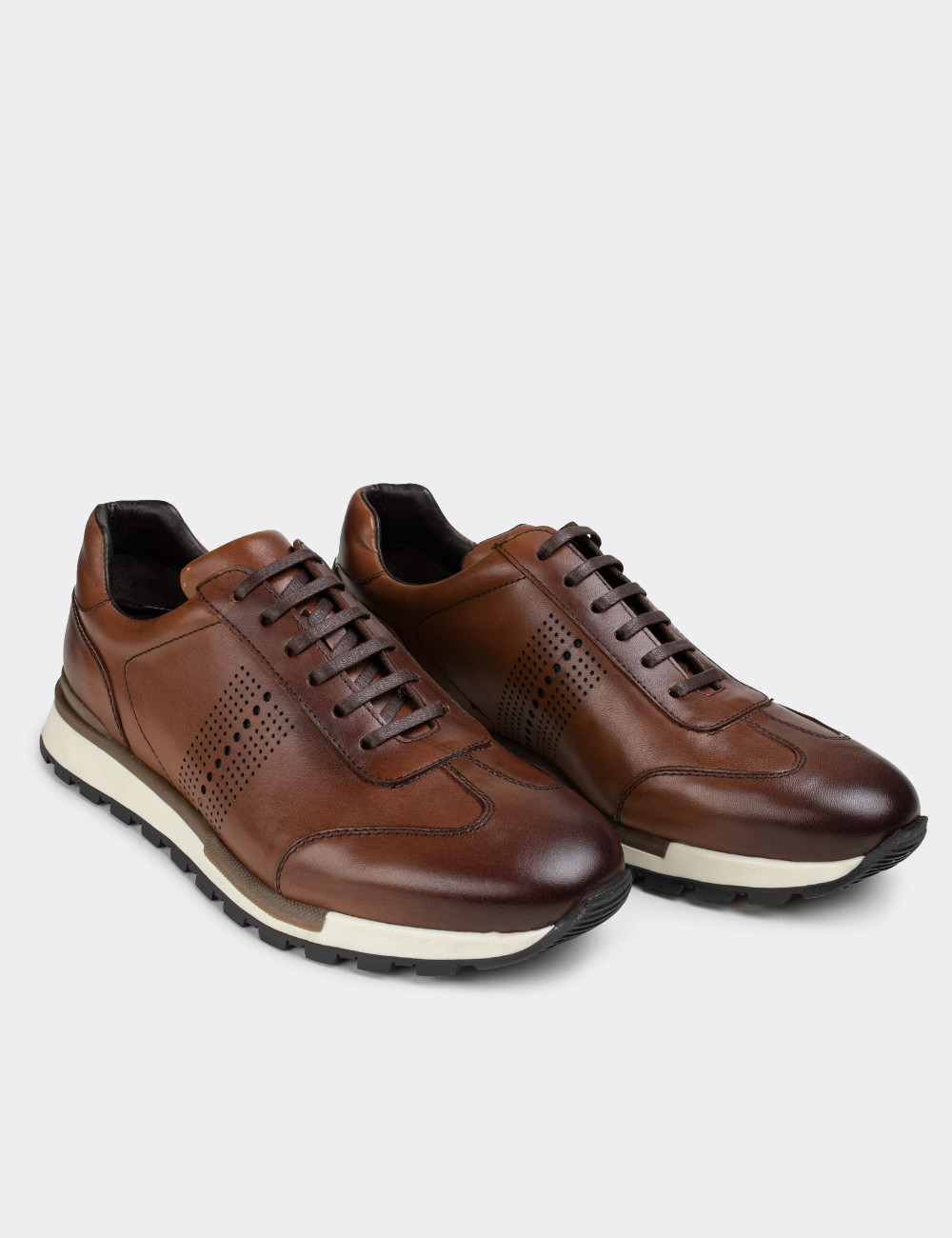 Hakiki Deri Taba Rengi Sneaker Erkek Ayakkabı - 01738MTBAT01