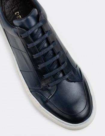 Hakiki Deri Mavi Sneaker Erkek Ayakkabı