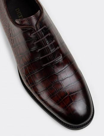 Hakiki Deri Kahverengi Kroko Klasik Erkek Ayakkabı