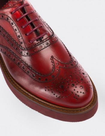 Hakiki Deri Kırmızı Finisajlı Oxford Kadın Ayakkabı