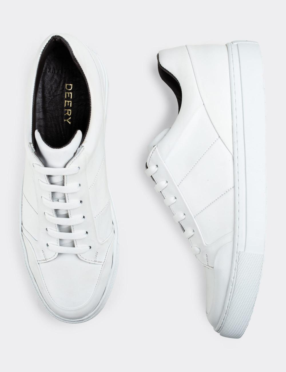 Hakiki Deri Beyaz Sneaker Erkek Ayakkabı - 01723MBYZC02