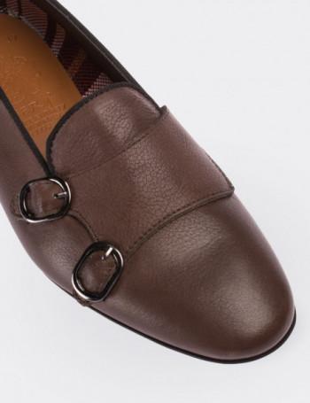 Hakiki Deri Çift Tokalı Kahverengi Kadın Loafer