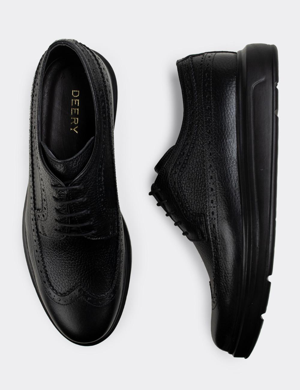 Hakiki Deri Siyah Comfort Günlük Erkek Ayakkabı - 01293MSYHP09