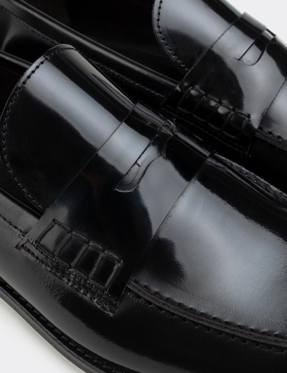 Hakiki Deri Siyah Mokasen Erkek Ayakkabı - 01538MSYHN01