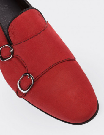 Hakiki Nubuk Çift Tokalı Kırmızı Kadın Loafer
