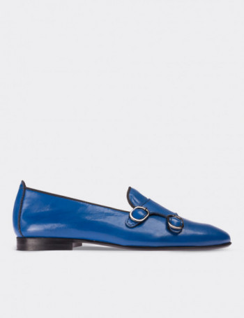 Hakiki Rugan Çift Tokalı Mavi Kadın Loafer