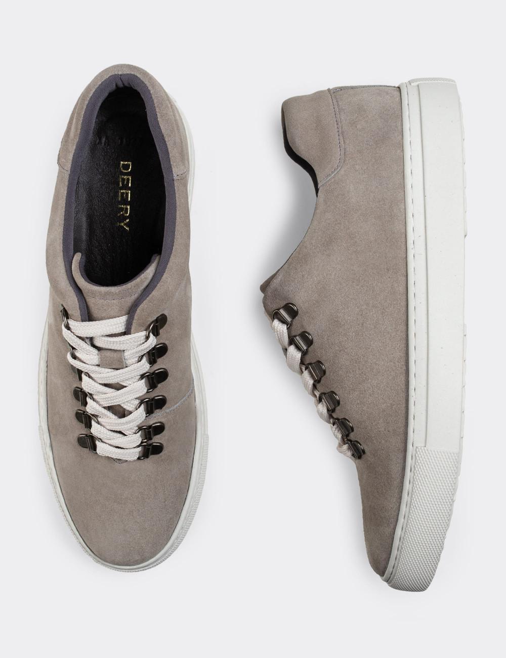 Hakiki Süet Bej Sneaker Erkek Ayakkabı - 01835MBEJC01