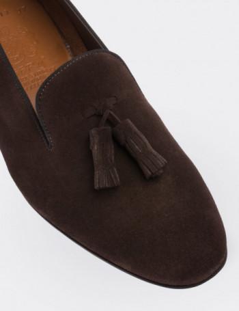 Hakiki Süet Püsküllü Kahverengi Kadın Loafer