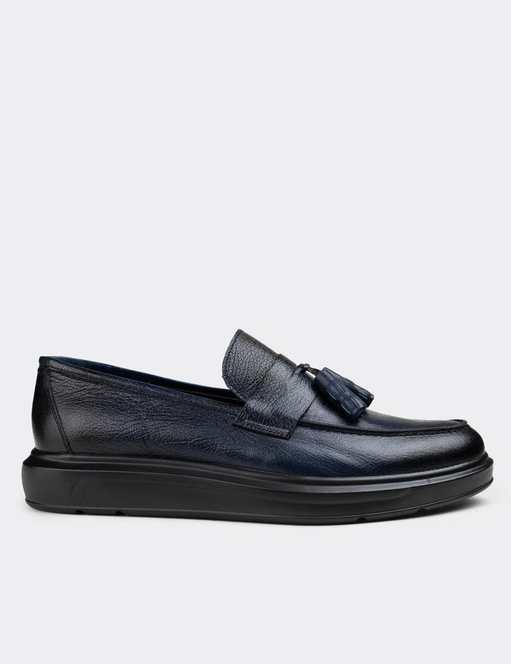 Hakiki Deri Lacivert Vintage Püsküllü Erkek Loafer - 01587MLCVP06
