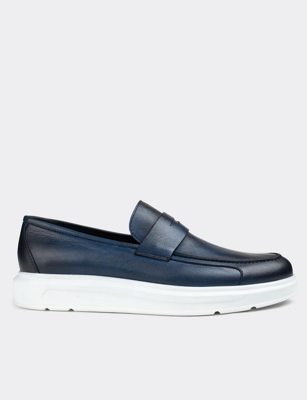 Hakiki Deri Mavi Comfort Erkek Loafer - 01564MMVIP07