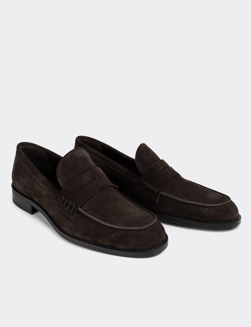 Hakiki Süet Kahverengi Erkek Loafer - 01538MKHVN08