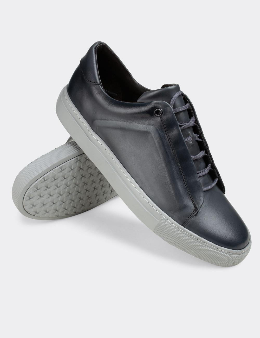 Hakiki Deri Gri Sneaker Erkek Ayakkabı - 01831MGRIC01