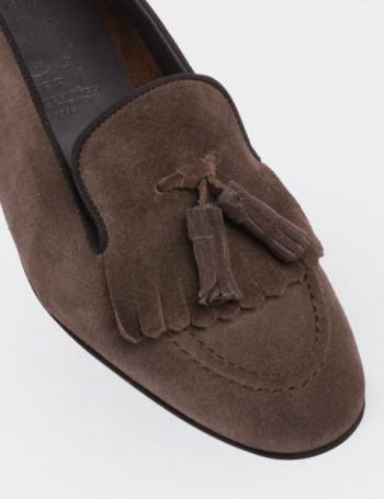 Hakiki Süet Deri Püsküllü Kahverengi Kadın Loafer