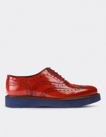 Hakiki Deri Turuncu Finisajlı Oxford Kadın Ayakkabı