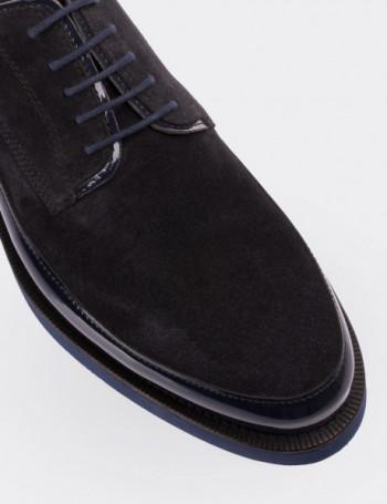 Hakiki Süet Lacivert Rugan Kombineli Erkek Ayakkabı
