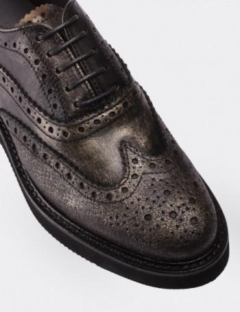 Hakiki Deri Vintage Antrasit Oxford Kadın Ayakkabı
