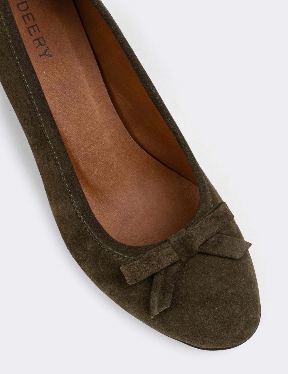 Hakiki Süet Haki Günlük Kadın Ayakkabı - E1471ZHAKC01