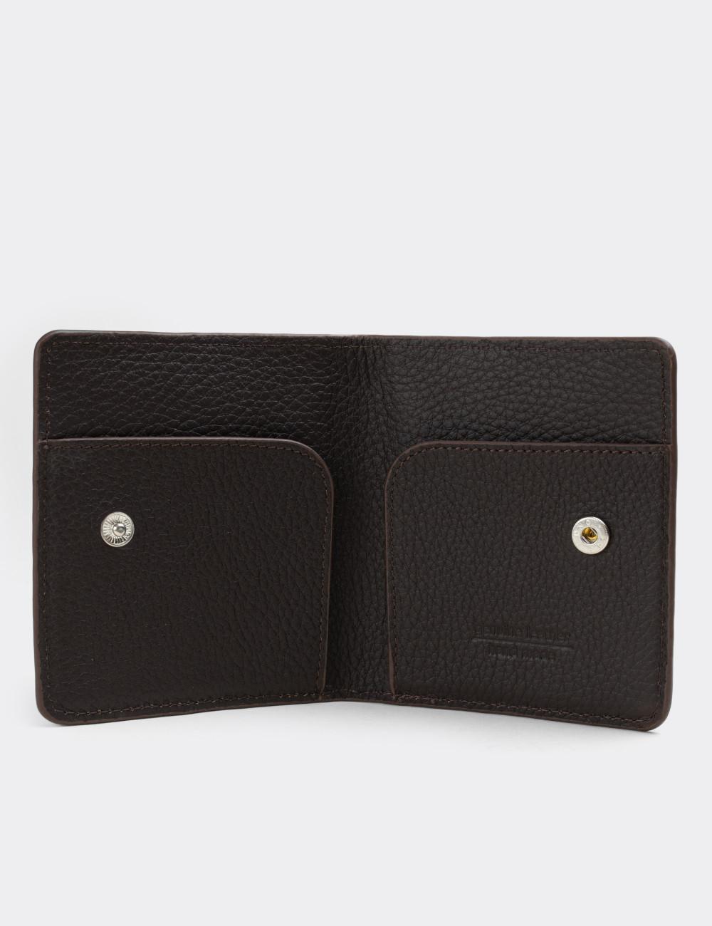 Hakiki Deri Kahverengi Yatay Erkek Cüzdanı - 00512MKHVZ01