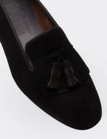 Hakiki Süet Püsküllü Siyah Kadın Loafer