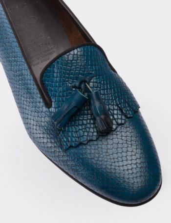 Hakiki Deri Kroko Desen Püsküllü Lacivert Kadın Loafer