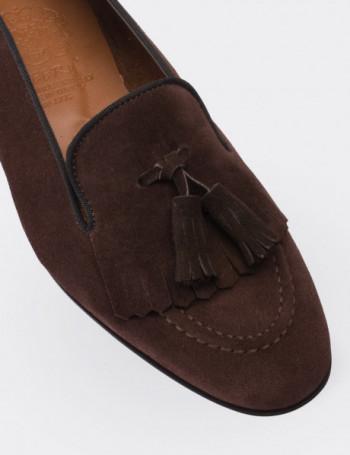Hakiki Süet Püsküllü Koyu Kahverengi Kadın Loafer