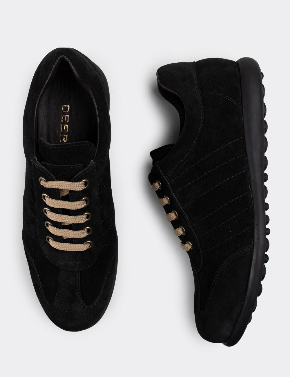 Hakiki Süet Siyah Günlük Erkek Ayakkabı - 01826MSYHC02