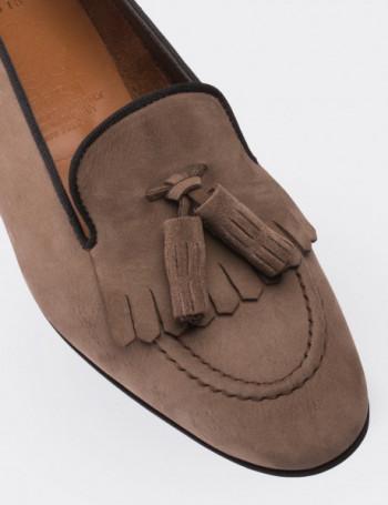 Hakiki Nubuk Püsküllü Vizon Rengi Kadın Loafer