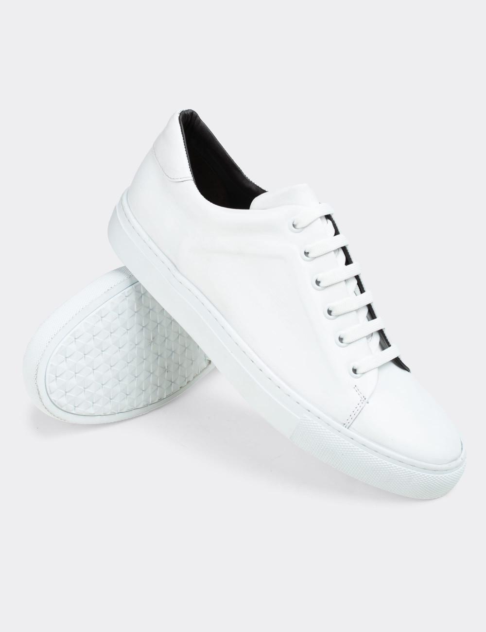 Hakiki Deri Beyaz Sneaker Erkek Ayakkabı - 01833MBYZC01