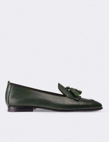 Hakiki Deri Püsküllü Yeşil Kadın Loafer