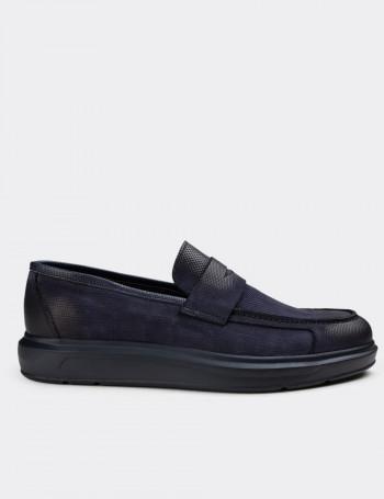 Hakiki Nubuk Lacivert Erkek Loafer