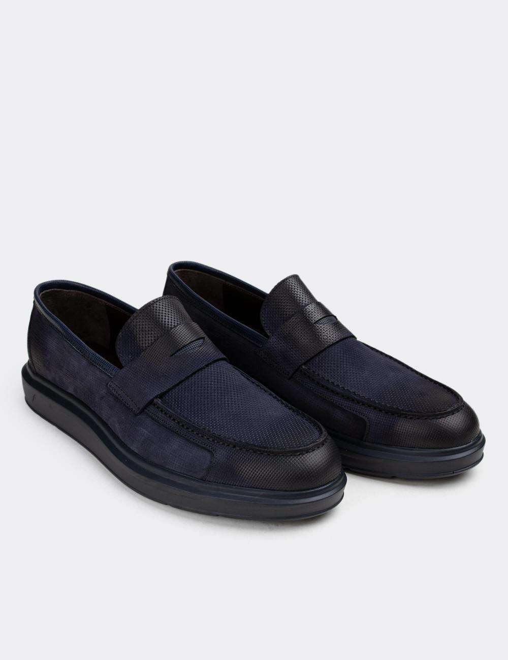 Hakiki Nubuk Lacivert Erkek Loafer - 01564MLCVP14