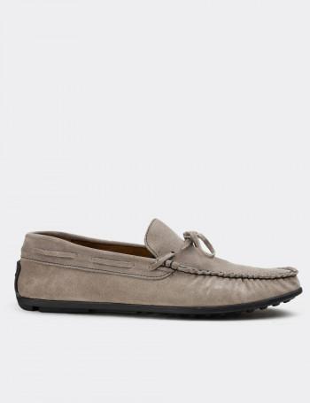 Hakiki Süet Vizon Rengi Loafer Erkek Ayakkabı
