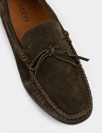 Hakiki Süet Haki Loafer Erkek Ayakkabı