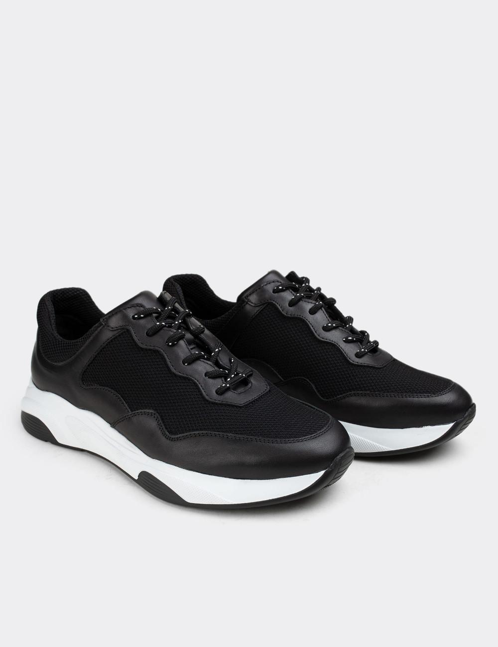 Hakiki Deri Siyah Sneaker Erkek Ayakkabı - 01725MSYHE03