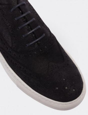 Hakiki Deri Koyu Lacivert Sneaker Erkek Ayakkabı