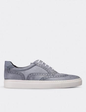 Hakiki Deri Gri Sneaker Erkek Ayakkabı