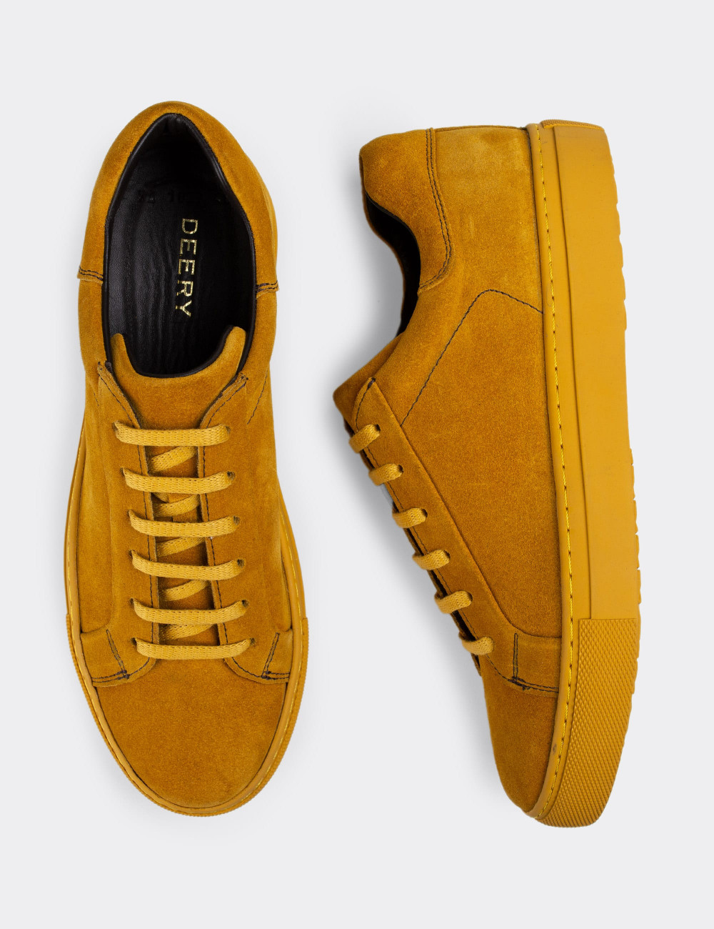 Hakiki Süet Sarı Sneaker Erkek Ayakkabı - 01829MSRIC01