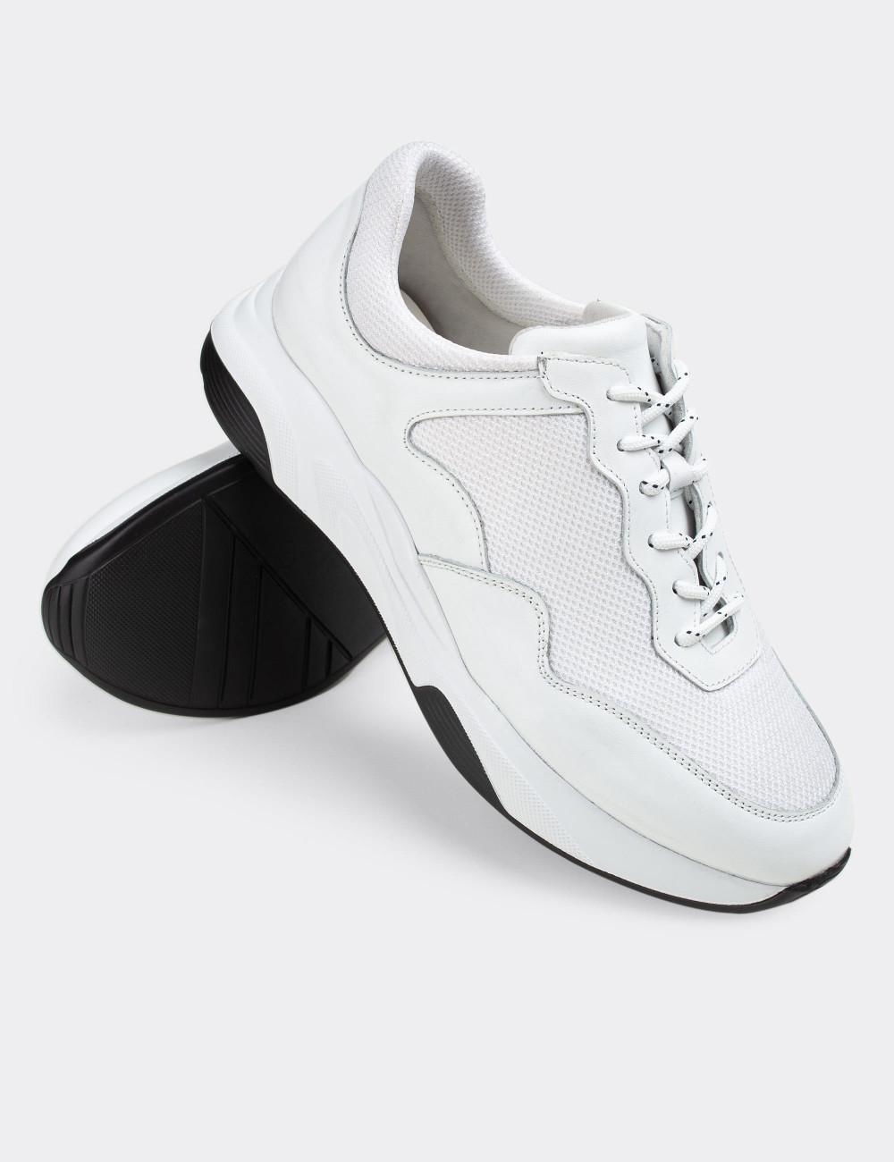 Hakiki Deri Beyaz Sneaker Erkek Ayakkabı - 01725MBYZE01